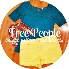 Free People neon yellow corduroy shorts Fun, BRIGHT yellow corduroy shorts from Free People. Size 29. Only worn once. Shoes and top are not included. Free People Shorts