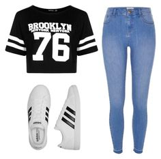 """""""YEE"""" by highbythebeachhh ❤ liked on Polyvore featuring River Island, adidas and Boohoo"""