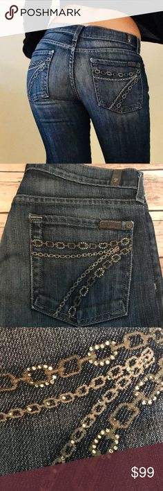 7 For All Mankind DoJo Chain Swarovski Pocket 💎RARE💎 HARD TO FIND 7 For All Mankind DoJo Double Chain Pocket with Swarovski Crystals!   Five Pocket Size 29 All Swarovski Crystals are still in tact! Jeans in great condition!  Not much wear and tear other than a worn down small piece under one of the back pockets (see photos).  Inseam Approximately 30  Waist when laid flat Approximately 15.5 First photo for demonstration From a smoke free and pet free environment 7 For All Mankind Jeans…