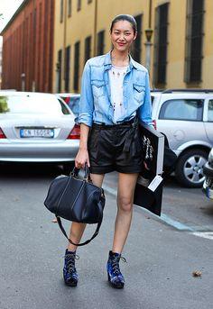 Liu Wen looking casually fabulous with her Louis Vuitton Sophia Coppola Bag