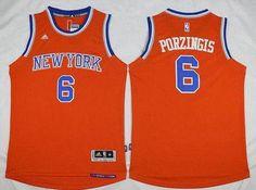 New York Knicks Kristaps Porzingis Orange Alternate Stitched NBA Jersey a7849a328