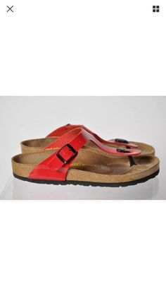 Red Birkenstock Thong Patent Leather T Strap Size 39 | eBay