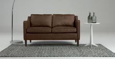 Walken 2 Seater Sofa in saddle tan premium leather | made.com