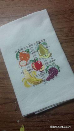 Fruit collage  White Cotton Kitchen Tea Towel by StitchnJEmbroidery on Etsy