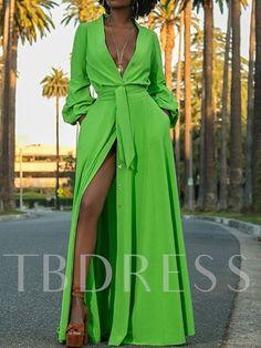 V-Neck Three-Quarter Sleeve Plain Womens Maxi Dress :Split V-Neck Three-Quarter Sleeve Plain Womens Maxi Dress : Outfits Dress, Chic Outfits, Fashion Dresses, Elegant Dresses, Beautiful Dresses, Casual Dresses, Dresses Dresses, Dresses Online, Yellow Long Sleeve Dress