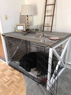 Dog Crate Table, Dog Crate Furniture, Diy Dog Crate, Dog Crate Cover, Dog Kennel Cover, Dog Cages, Dog Rooms, Dog Houses, Mans Best Friend