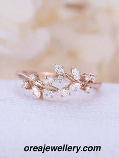 Wedding Rings - Engagement Rings : Picture Description Rose gold engagement ring Diamond Cluster ring Unique engagement ring leaf wedding Bridal Jewelry Anniversary Valentines Day Gift for women All our diamonds are natural and not clarity Delicate Rings, Unique Rings, Beautiful Rings, Unique Diamond Rings, Unique Promise Rings, Promise Rings For Her, Dainty Ring, Diamond Cluster Engagement Ring, Gold Engagement Rings