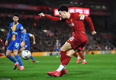 Curtis Jones whips out a rabona cross as he attempts to find a team-mate in the box during the first half of the game Ynwa Liverpool, Dominic King, Uefa Super Cup, Own Goal, Free Kick, Fa Cup, One Team, Goalkeeper