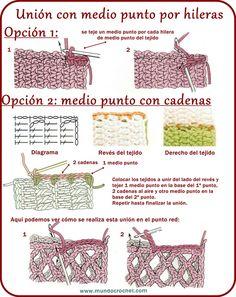 Uniones en Crochet: con medio punto - Mundo Crochet