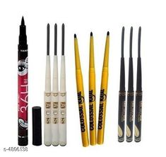 Makeup Combo Yanqina 36H Black Waterproof Liquid Pen Eyeliner With ADS Black Waterproof  (Pack of 9) Pencil Kajal   Product Name: Yanqina 36H Black Waterproof Liquid Pen Eyeliner With ADS Black Waterproof  (Pack of 9) Pencil Kajal  Brand Name: Yanqina & ADS  Product Type: Eyeliner Capacity: 2.5  gm  Each Finish Type: Matte Shade : Black  Package Contains: It Has 10 Pieces of Eyeliner Sizes Available: Free Size *Proof of Safe Delivery! Click to know on Safety Standards of Delivery Partners- https://ltl.sh/y_nZrAV3  Catalog Rating: ★3.9 (2688)  Catalog Name: Free Gift Makeup Combo Yanqina/Ads Waterproof Eyeliner Combo Vol 4 CatalogID_700539 C51-SC1540 Code: 651-4806138-
