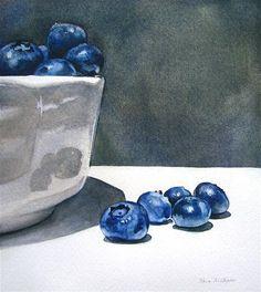 """Blueberry Still Life"" - Original Fine Art for Sale - © Kara K. Bigda"
