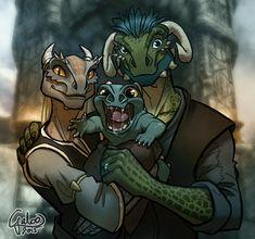 The Happy Argonian Family ver2 by GalooGameLady.deviantart.com on @DeviantArt