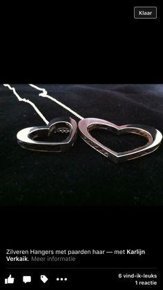 In memory of...2x hanger hart zilver met daarin het paardenhaar verwerkt
