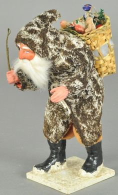 Early German Brown Coat Hunch Back Santa Claus Merry Christmas To All, Prim Christmas, Victorian Christmas, Vintage Christmas Ornaments, Father Christmas, Christmas Design, Christmas Candy, Christmas Holidays, Christmas Ideas