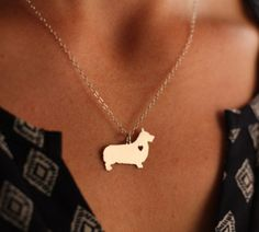 Corgi Pendant Necklace - Gold or Silver - If you love your dog, this necklace is perfect way to show it.