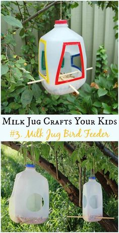 DIY Milk Jug Bird Feeder Instructions - Recycled Crafts Your Kids Can Do Recycled Milk Jug Crafts Your Kids Can Do: Milk Jug flower, lamp, costume, Art Supply organizer and more easy kids crafts to recycle plastic milk jug Upcycled Crafts, Recycled Crafts For Kids, Recycled Art Projects, Recycling For Kids, Diy Recycling, Reuse Recycle, Recycling Projects For School, Recycling Activities For Kids, Summer Activities For Kids