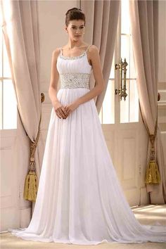 Gorgeous Empire Spaghetti Straps Sleeveless Beaded Court Train Wedding Dress(Free Shipping)