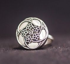 Silver Vintage Button Ring, jewelry
