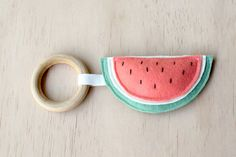 Watermelon Wooden Teething Toy,  Soft Baby Toy, Wooden Teething Ring, Natural Teething toy, Wooden Teether, Watermelon toy