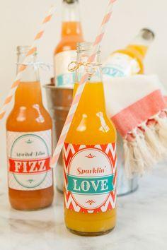DIY custom wedding soda labels