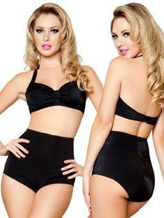50ies style high waisted black bikini - WANT! ♡ #vintage #retro