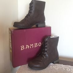 3.99 shipping⚡️Brown Boots 3.99 shipping ends tomorrow!⚡️A stylish mid-calf brown boot from the Bamboo collection. The Croft-29 features a vegan leather upper, metal eyelet lace up, stitching details, a faux wood heel, and a lightly cushioned insole for comfort. Pair off the boots with skinny jeans or leggings and a printed blouse. Bamboo Shoes Lace Up Boots