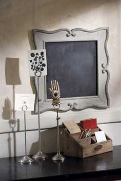 chalkboard in a frame... a bit too trendy at the moment but still very cute!