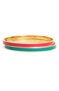 Kate Spade Idiom Ultra Thin Enamel Bangle in Blue (blue/ gold)