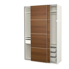 "PAX Wardrobe, white, Ilseng brown stained ash veneer - 59x26x93 1/8 "" - soft closing damper - IKEA"