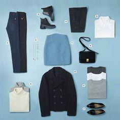 12. Skinny Jeans (schwarz, dunkelblau) - 13. Chelsea Boots - 14. Schwarze Wollhose - 15. Weiße Bluse - 16. Schmuck (Halsketten, Ohrringe, Armbänder, Ringe) - 17. Minirock (Wolle, Akzentfarbe) - 18. Handtasche - 19. Rollkragenpulli (cremeweiß, hellgrau) - 20. Kapitänsjacke - 21. T-Shirts (weiß, grau, schwarz) - 22. Slipper