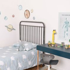 How good do the planets of our Solar System look here. Perfectly paired with our skeleton and muscle poster decal.   .  .  .  .  . #wallsticker #walldots #walldecals #fabricdecals #fabricNOTvinyl #quoteposters #itscooltobekind #kidsprints #watercolourdots #nursery  #humanbodyposter #skeletonposter     #Regram via @www.instagram.com/p/B-mFSIKgCij/ Toddler Rooms, Toddler Bed, Kids Rooms, Kids Wall Decals, Wall Sticker, Childrens Beds, Our Solar System, Kids Prints, Bed Storage