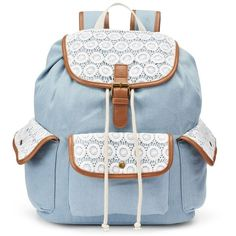 Mudd Maya Chambray Crocheted Backpack, Blue ($42) ❤ liked on Polyvore featuring bags, backpacks, blue, hardware bag, blue bag, draw string bag, crochet backpack en knapsack bags
