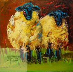 ARTOUTWEST DAILY PAINTING FEBRUARY 6 PARTY SHEEP LAMB ANIMAL ART -- Diane Whitehead