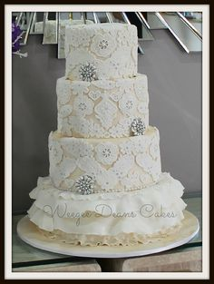 Lace bling pearls and ruffles 3 tier wedding cake | Flickr - Photo Sharing!