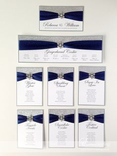 Navy and Silver Winter Wedding Stationery | The Cinderella Collection - DIY Table Plan / Seating Chart for Mirror | Featuring silver glitter paper, navy blue ribbon and diamante snowflake embellishment | Enchanting luxury handmade wedding invitations and stationery #byenchanting