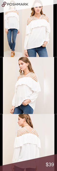 FLASH SALE!!! Strappy Ruffled Top Off white in color. Strappy shoulder detail. Loose fit. True to size. Non-sheer. Partially transparent. 100% woven rayon. Lightweight. Elasticized cuffs. Tops Blouses
