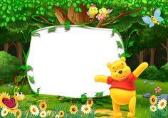 Winnie the Pooh Kids Transparent Photo Frame Winnie The Pooh Birthday, Winnie The Pooh Friends, Invitation Card Design, Invitations, Winnie The Pooh Pictures, Disney Frames, Page Borders Design, Photo Frame Design, Carton Invitation
