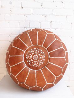 Tan Pouf – Moroccan Leather Footstool. From Baba Souk