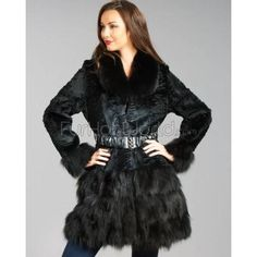 $799, Embossed Rabbit Fur Coat With Fox Fur Trim Black by FRR. Sold by FurHatWorld.com. Click for more info: http://lookastic.com/women/shop_items/74990/redirect