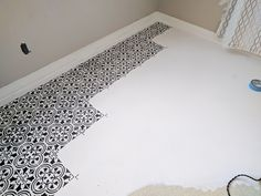 Learn how to stencil a dining room linoleum floor using the Augusta Tile Stencil from Cutting Edge Stencils. http://www.cuttingedgestencils.com/augusta-tile-stencil-design-patchwork-tiles-stencils.html