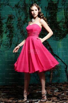 A-line Sweetheart Fuchsia Ruffles Chiffon Sleeveless Knee-length Bridesmaid Dress at Millybridal.com