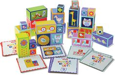 Fisher-Price My First Activity Block Set and thousands more of the very best toys at Fat Brain Toys. Nine colorful cards show different blocks stacked in specific ways. Can your child find the right blocks and stack them just . Therapy Games, Visual Memory, Safari Theme, Kids Store, Learning Games, Christmas Birthday, Color Card, Wood Blocks, Fisher Price