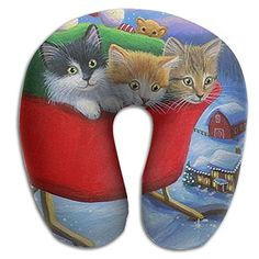 Christmas Kittens Cozy Neck Pillow Travel Pillow Neck Support Plane Pillow Neck Pillow For Sleeping *** Read more at the image link. (This is an affiliate link)