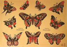 Traditional Tattoo Rose Flash, Traditional Tattoo Painting, Traditional Tattoo Reference, Traditional Tattoo Meanings, Traditional Tattoo Filler, Traditional Butterfly Tattoo, Traditional Flash, American Traditional, Sailor Jerry Tattoo Flash