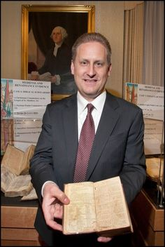 Hobby Lobby President Steve Green holds a copy of the first Bible printed in America, the Aitken #Bible, which will be on display in the Sacra Pagina exhibit at Oral Roberts University next week.