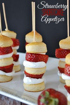 Strawberry Shortcake Appetizer-a fun way to serve a traditional dessert from Lady Behind The Curtain {pinned 12K}