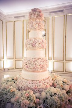 """Former Miss USA, Crystle Stewart, says """"I do"""" in a sophisticated + glamorous ballroom featuring towering floral arrangements, a majestic cake and beautiful details throughout. Extravagant Wedding Cakes, Big Wedding Cakes, Wedding Cakes With Cupcakes, Beautiful Wedding Cakes, Glamorous Wedding, Perfect Wedding, Dream Wedding, Wedding Designs, Wedding Styles"""