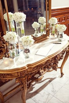 Ornate Gold and Marble Guest Sign in Table (flowers)