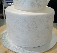 Faye Cahill method of brushing fondant with luster dust and royal icing transfer.
