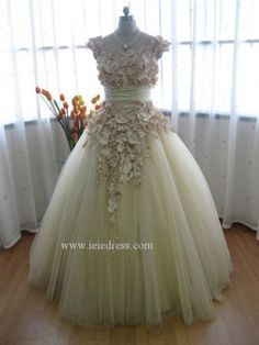 Modest Scoop Neck Champagne Tulle Wedding Ball Gown with Satin Flowers. $454.95, via Etsy. Gorgeous!